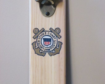 United States Coast Guard USCG Coastie Mounted Bottle opener with magnetic cap catcher bottle cap catching opener