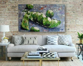 Original painting, Green peas painting, acrylic, canvas, wall decor, modern art