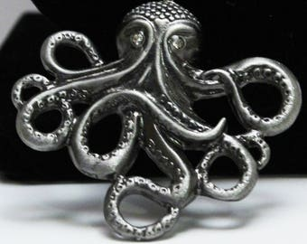 Octopus Necklace, Silver Metal, Three Tier, Beach Charm Necklace