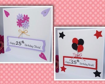 Personalised Birthday Card Handmade For Him & Her Balloons Flowers Hearts Bow BD62