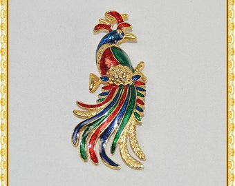 Vintage Figural 60's 70's Jewel Tone Enamel Bird of Paradise Pin