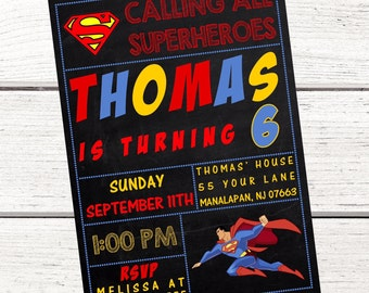 Superman Invitation, FREE Thank You Card File, Superman Party