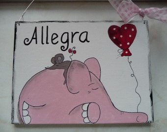 1 xTürschild elephant and mouse... Name tag to choose your name