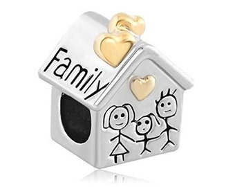 Charm Central Silver and Gold Tone Family House Charm Bracelets - Fits Pandora Bracelets