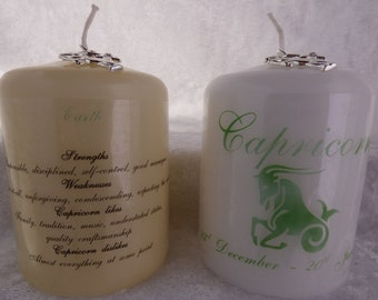 3 Inch - Zodiac Candle with Strengths, Weaknesses, Like & Dislikes - Capricorn