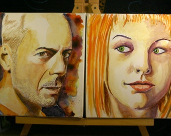 Watercolor Portrait of Famous Duos - 5th Element - Korban Dallas and Leeloo