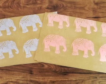 HANDPRINTED GIFTWRAP- Baby Blue and Baby Pink Elephants, Baby Shower giftwrap, Elephants, Hand Printed wrapping paper, Kraft Paper.