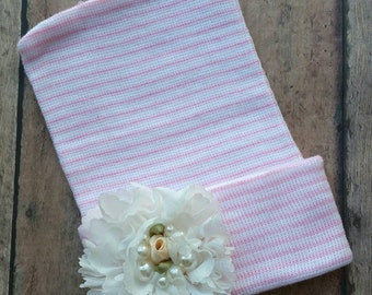 Pink and white baby hat - vintage shabby flower baby hat - newborn girl hat - baby girl  hat - baby shower gift - baby girl vintage hat