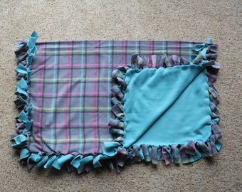 """Pink, Grey, Turquoise Plaid Fleece Tied """"Tummy Timer"""" Blanket (approximately 46 inches x 36 inches)"""