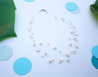 Mermaid Pearl Necklace Mother of Pearl Ocean Necklace