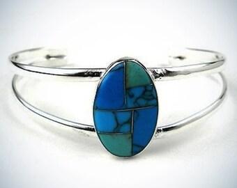 Turquoise Stone Mosaic Bracelet Silver Bracelet