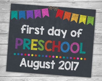Preschool Signs, First Day Of School, Back To School Signs, Chalkboard Signs, Printable Photo Prop, 1st Day Of Preschool