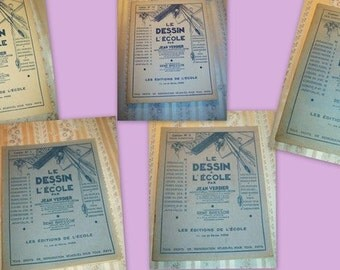 5 lovely small booklets former, drawing at school, Jean Verdier