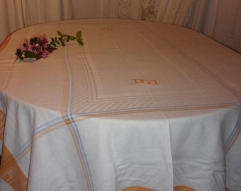 large vintage tablecloth damassées tricolor, monogrammed.