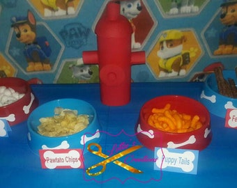 Paw patrol food place cards, Paw patrol food tents