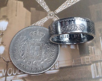 1891 to 1908 Portugal 500 Reis Coin Ring (91.7% Silver)