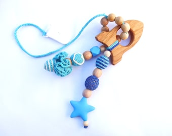 Crochet teether on a clip Wooden teething toy Baby shower gift Eco friendly toys Silicone teether Crochet rattle Wooden Mother's day sale