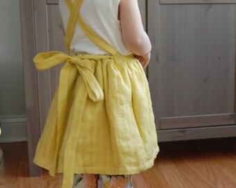 Linen Apron Dress - Mustard