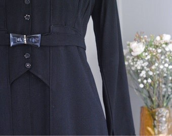 Vintage 1940s 'XS' Downton Abbey Black Crepe Dress / Diamante Bow Belt / Vintage Black Dress / Mary Poppins Style Dress