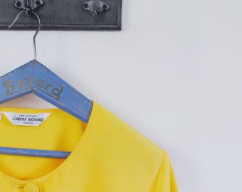 Vintage 1980s Canary Yellow Blouse / Square Blouse / French Vintage Blouse