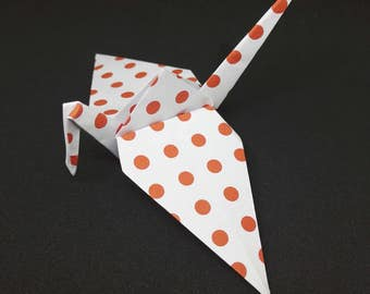 20 Origami Crane. White with Red Spots, Wedding Favors