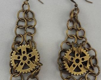 Chain and gear earrings