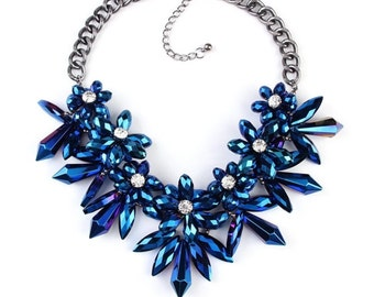 Blue Iridescent Crystal Necklace