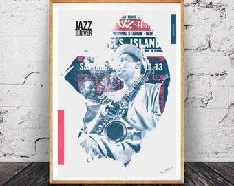Dexter Gordon 1948 - Collage, music, soul, jazz, interior design, vintage, print, home decor, poster, fine art-