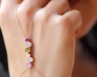 Hand Chain Bracelet, Slave Bracelet, Bracelet Ring, Personalized Jewelry, Hand Jewelry, Birthstone Jewelry, Rose Gold Hand Bracelet