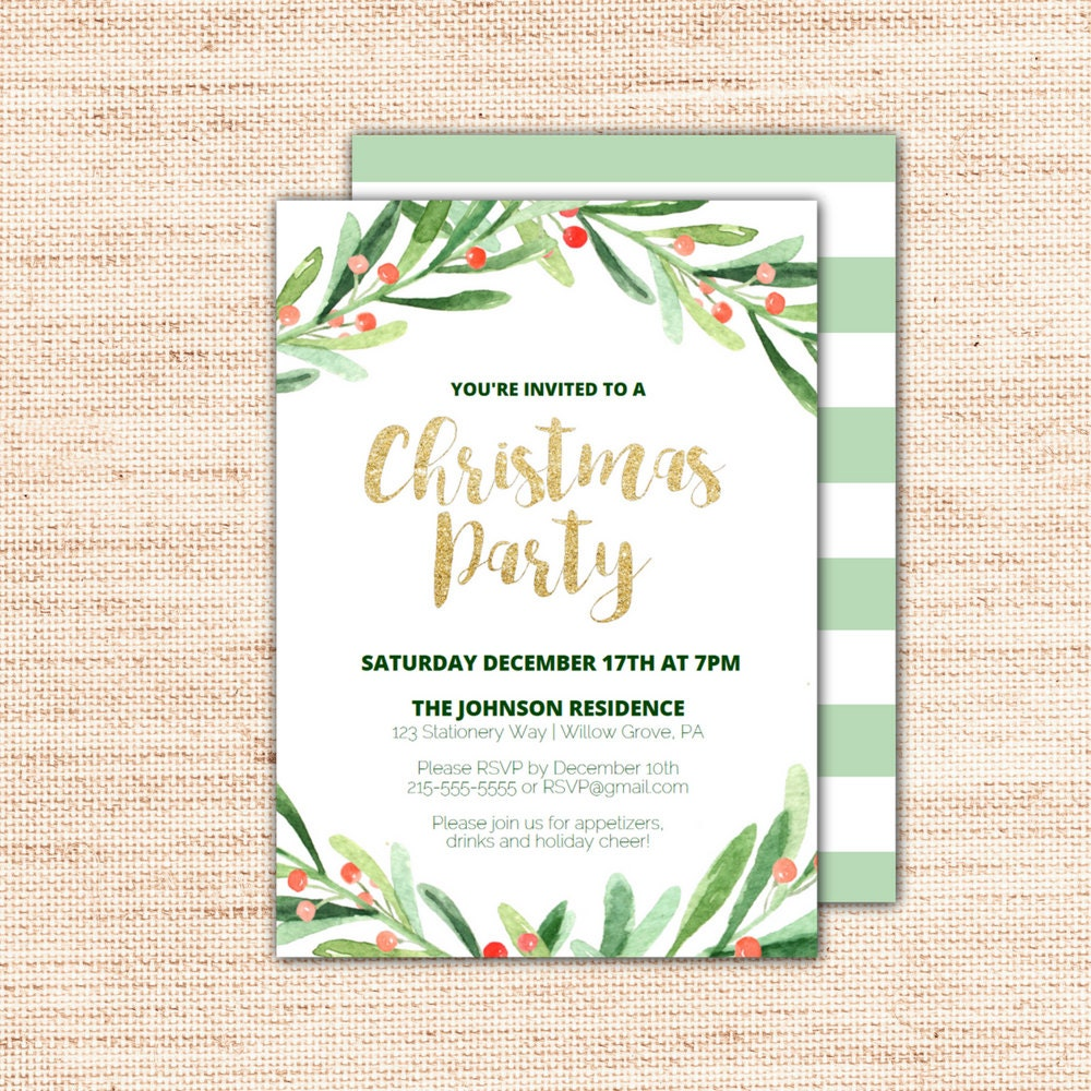 Holly wreath printable christmas party invitation template for Free holiday invite templates