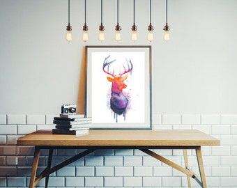 Colorful deer silhouette