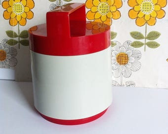 1960's Thermos flask, picnic carrier, ice bucket, insulex hot or cold lunch box, red, white, as new.