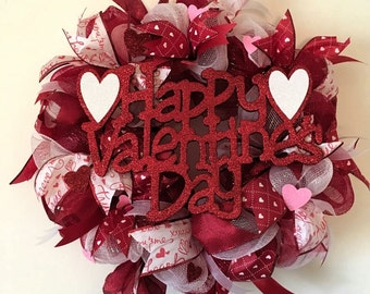 Valentine's Day Wreath, Valentines Day, Red and White Heart Wreath, Valentine's Day Decorations, Valentine's Day Gift
