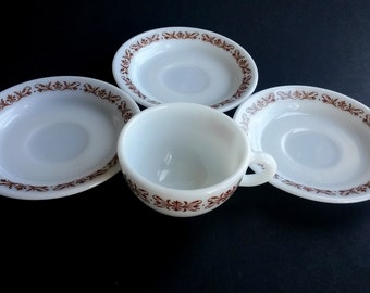 Pyrex plates and cup  Copper Filigree  Pyrex small plates