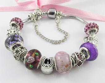 Pretty Purple European Snake Chain Bracelet 11 Beads & Charms 20cm Safety Chain (BFS103)