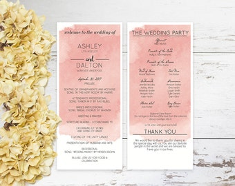 Watercolor Wedding Program Template, DIY Wedding Program Templates Printable, Wedding Program PDF,  DIY Wedding Program Templates Printable,
