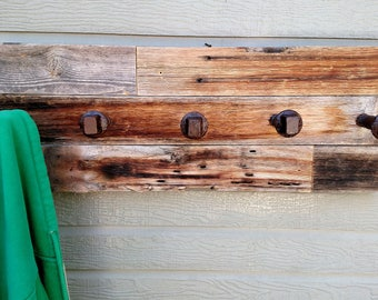 Recycled Fence Coat Hanger with Railroad Spikes