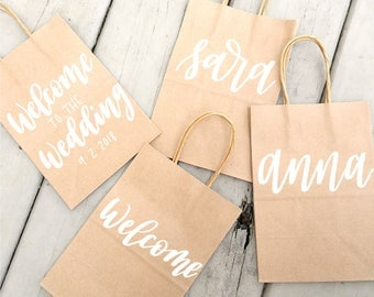 Small Personalized Kraft Gift Bags, Handlettered
