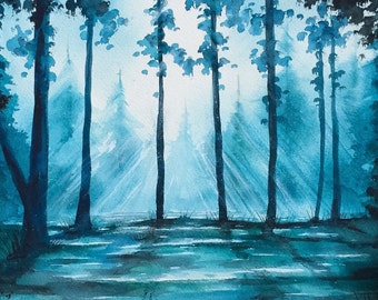 """Light Of The Woods  - Watercolour Painting On Fine Art Paper - 13"""" x 11"""""""