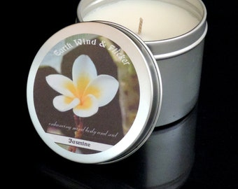 Jasmine Candle - Jasmine Soy Candle - Scented Candle UK - Candles UK - Soy Candle UK - Vegan Candle - Relaxing Candle - Candle Tin