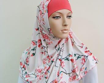 Floral Hijab Two Piece,Al Amira style, Scarf handmade, prayer scarf, Muslim, islamic viscose scarf, eid gift ideas