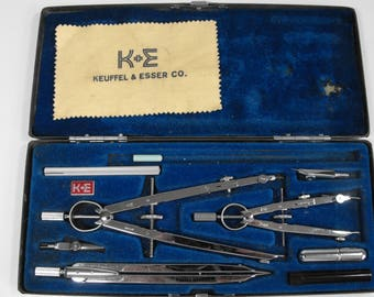 Vtg Drafting Kit by Keuffel and Esser Made in Germany in Metal Case    (1055)