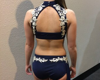 Navy and Ivory Lyrical or Contemporary Dance Costume