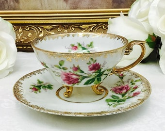 Japanese footed  teacup and saucer