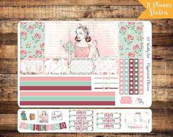 H Weekly Planner Stickers, Girl Baking Planner Stickers, {#12}