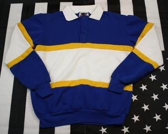 Vintage 90s Nutmeg Mills Rugby Shirt Size M Striped Colorblocking