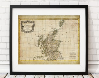 Scotland Map Print, Vintage Map Art, Antique Map, Wall Art, History Gift, Old Maps, Scotland Art, Scotland Print, Map of Scotland, Scottish
