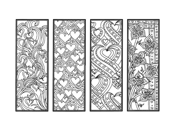 Diy Valentine S Day Bookmarks Printable Coloring Page