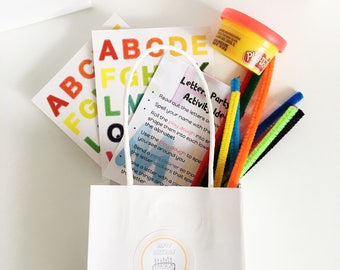 ALPHABET - Kids Birthday Party Favours - Kids Party - Party Bags Set of 6 - Kids Party Favors - Treat Bags - Return Gift - Letter Busy Bag