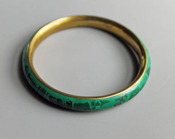 Antique Art Deco Malachite and Copper Bangle Bracelet